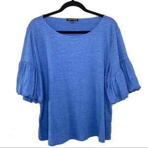 Cable and Gauge Blue Bell Sleeve Blouse